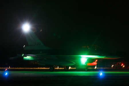 Leeuwarden Feb 6 2018: Night flight Exercise. F-16 ready for take off.