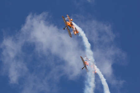Oostwold, Netherlands May 25, 2015: Breitling Wingwalkers at Oostwold Airshow