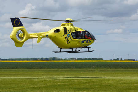 Oostwold, Netherlands May 25, 2015: Lifeliner Air Medical Services landing at Oostwold Airshow