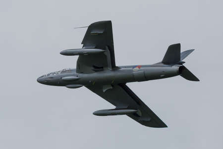 Oostwold, Netherlands May 25, 2015: Hawker Hunter in colors of the Dutch Airforce