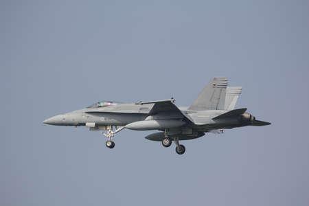 Leeuwarden, Netherlands Apr 10, 2015: Finnish F-18 Landing at Frisian Flag
