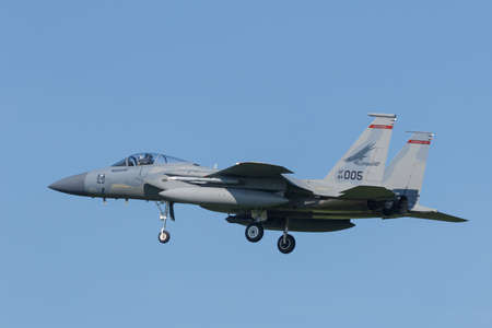 Leeuwarden, Netherlands April 18, 2018: A USAF F-15 of 142nd Redhawks Fighter Wing during the Frisian Flag exercise Redactioneel