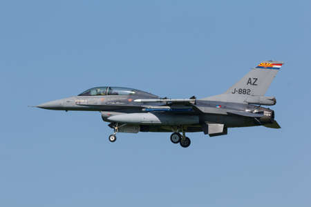 Leeuwarden, Netherlands April 18, 2018: A RNLAF F-16 with markings of Tucson Air Force Base during the Frisian Flag exercise