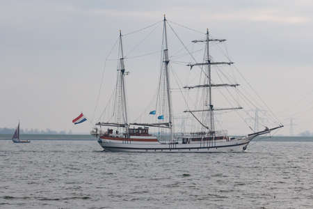 Kampen, The Netherlands - March 30, 2018: Barquentine Abel Tasman is sailing to Kampen to attend Sail Kampen