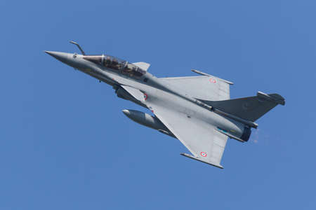 Leeuwarden, Netherlands April 18, 2018: A French Air Force Dassault Rafale during the Frisian Flag exercise