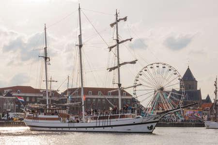 Kampen, The Netherlands - March 30, 2018: Barquentine Abel Tasman at Sail Kampen
