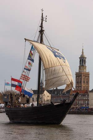 Kampen, The Netherlands - March 30, 2018: the Cog of Kampen during the fleet show at Sail Kampen