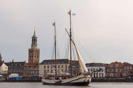 Kampen, The Netherlands - March 30, 2018: Tjalk De Schuttevaer at Sail Kampen