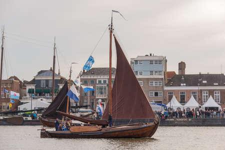 Kampen, The Netherlands - March 30, 2018: Fishing boat Botter KP32 at Sail Kampen Redactioneel