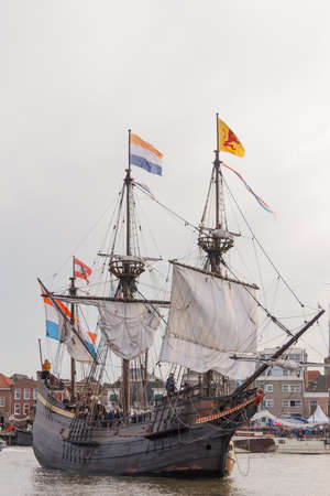 Kampen, The Netherlands - March 30, 2018: VOC ship De Halve Maen at Sail Kampen