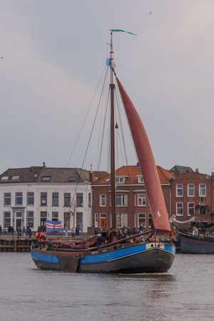 Kampen, The Netherlands - March 30, 2018: Hasselter aak De Dageraad at Sail Kampen