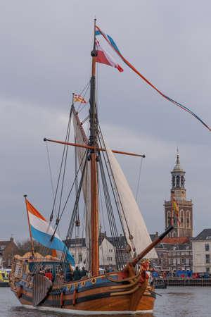Kampen, The Netherlands - March 30, 2018: State Yacht De Utrecht at Sail Kampen