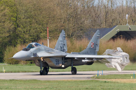 Leeuwarden, Netherlands April 18, 2018: A Polish Air Force MiG-29 during the Frisian Flag exercise
