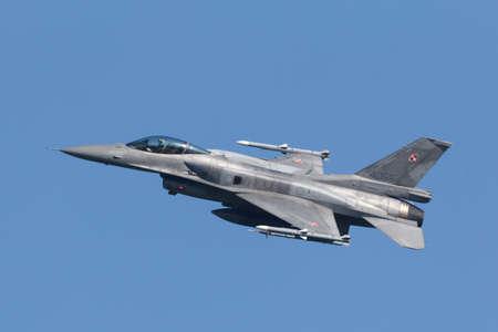 Leeuwarden, Netherlands April 18, 2018: A Polish F-16 during the Frisian Flag exercise