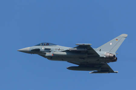Leeuwarden, Netherlands April 18, 2018: A German Luftwaffe EF2000 during the Frisian Flag exercise