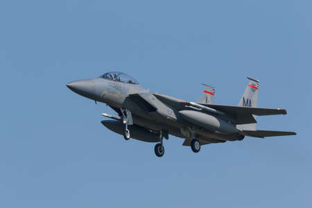 Leeuwarden, Netherlands April 18, 2018: A USAF F-15 of 104th Fighter Wing during the Frisian Flag exercise