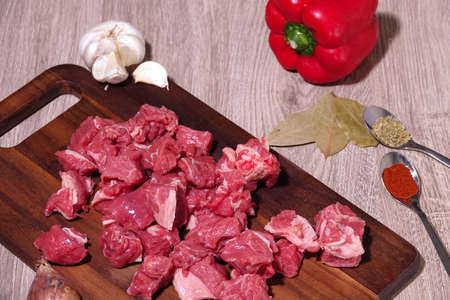 Goulash or beef stew ingredients ready for cooking. Photographed for a birds eye view