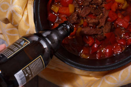 Goulash or beef stew in the pan from a flat top down view.