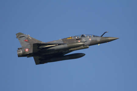 Leeuwarden, Netherlands APR 11 2016: French Dassault Mirage 2000 taking off at Frisian Flag Exercise
