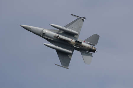 Leeuwarden, The Netherlands Apr 11 2016: An F-16 Fighting Falcon taking off during the Frisian Flag exercise Editorial