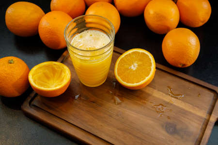 A glass of fresh orange juice. Healthy life concept.