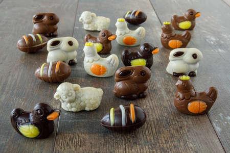 Chocolate easter figures: egg, bunny, duck, sheep, chicken