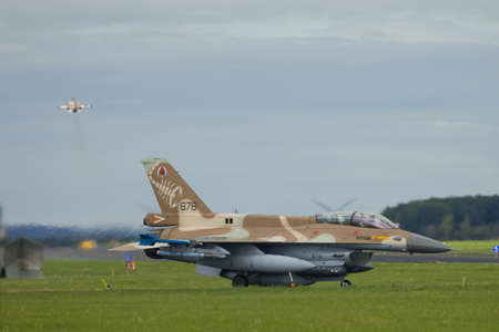 Nörvenich Germany Aug. 20 2020: Israeli Air Force F-16 Barak taking off from Nörvenich Air Base. Editorial