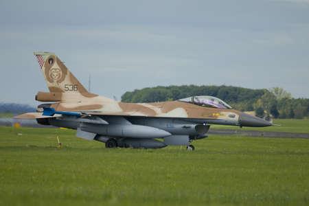Nörvenich Germany Aug. 20 2020: Israeli Air Force F-16 Barak visit Nörvenich Air Base for exercises and memorial flight.