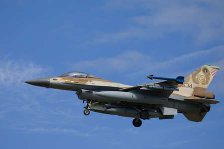 Nörvenich Germany Aug. 20 2020: Israeli Air Force F-16 Barak landing at Nörvenich Air Base. Editorial