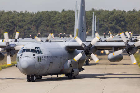 Eindhoven Netherlands sept. 20. 2019: Several C-130 Hercules aircraft enter the platform to pick up paratroopers for then Market Garden memorial and Falcon Leap exercise. Editorial