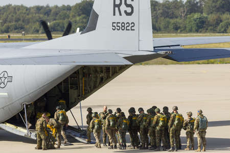 Eindhoven Netherlands Sept. 20. 2019: NATO Paratroopers boarding a C-130 Hercules for the Market Garden memorial and Falcon Leap exercise. Editorial