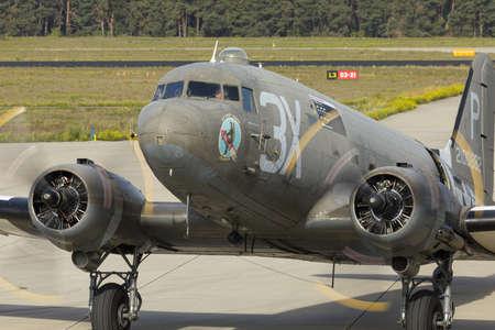 Eindhoven Netherlands sept. 20. 2019: A C-47 preparing to drop paratroopers at the Market Garden memorial.