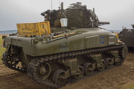Ginkelse Heide, The Netherlands sep 20, 2014 Market Garden memorial. M4 Sherman tank Editorial