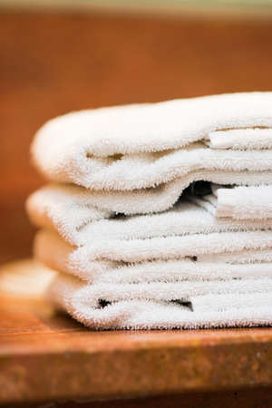 stack of hotel towels photo