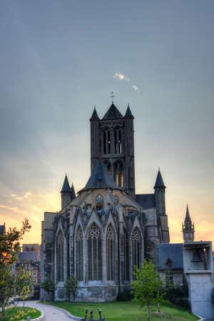 church in gent belgium in hdr photo