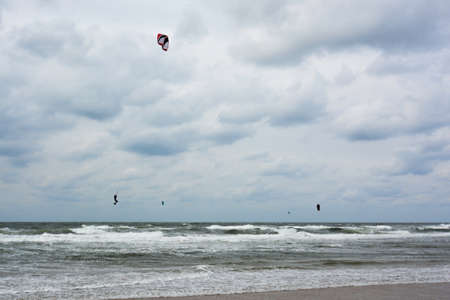 kite surfer during fall storm photo