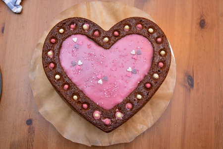 cake heartshaped with decoration photo