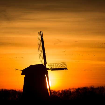 backlit Dutch windmill during sunrise