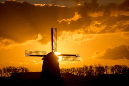 backlit: backlit Dutch windmill during sunrise