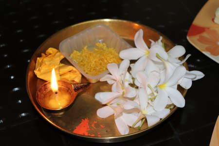 White flower in Puja Thali