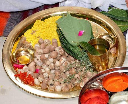 Hindu Wedding Puja Thali Stock Photo