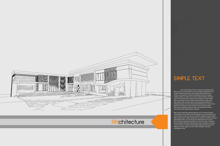 drawing table: sketch design of public building on drawing table,vector