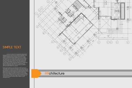 dessin au trait: Architectural background sur la table � dessin. Illustration