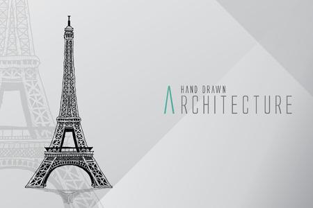 手には、エッフェル塔が描かれました。パリ、ベクトル イラスト  イラスト・ベクター素材