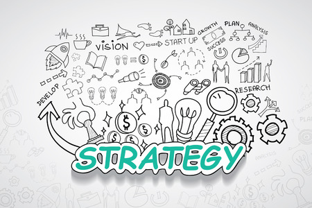 design solutions: Strategy text, With creative drawing Illustration