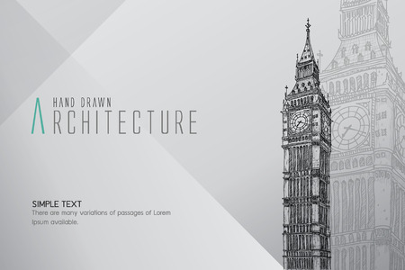 tower of london: Hand drawn Big Ben Tower. London, vector illustration