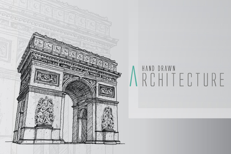 triumphant: Paris,  Arc de triomphe : Vector representation of an Hand drawing