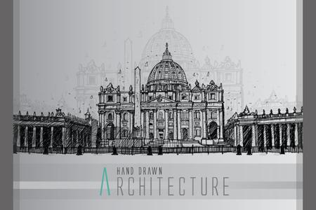 basilica: vector - hand draw Basilica di San Pietro, Vatican, Rome, Italy Illustration