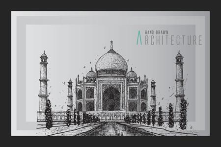 wonders: Taj Mahal, India - vintage hand drawn vector illustration