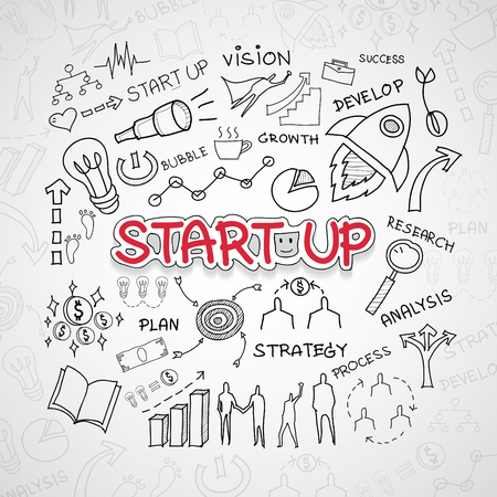 idea sketch: Start up text, With creative drawing